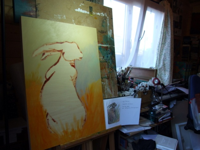 Hare Painting in Progress