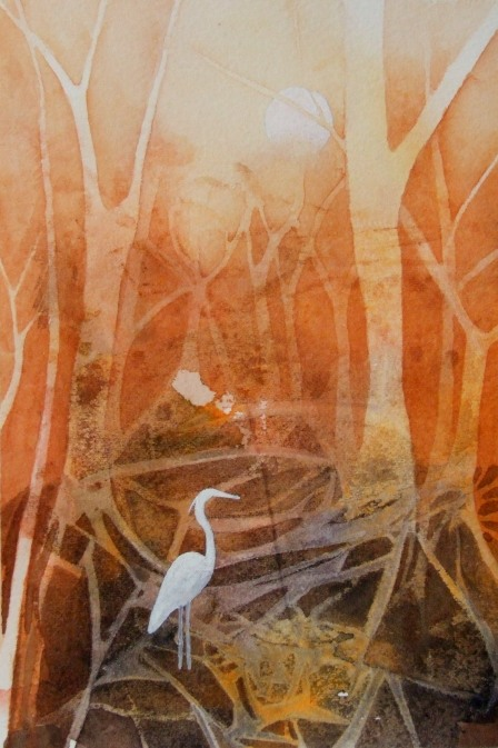 woodland with heron